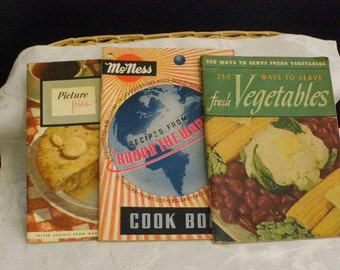 Vintage Cookbook Lot 1940 1950s Recipes from Around the World - Picture Pies - 250 Ways to Serve Fresh Vegetables