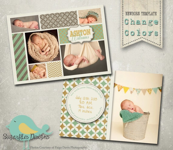 Boy Baby Announcement PHOTOSHOP TEMPLATE - Baby Boy Whisteria