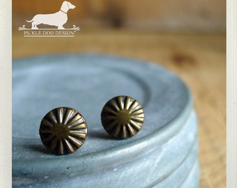 Brass Burst. Post Earrings -- (Brown, Antiqued Brass, Round, Geometric, Vintage-Style, Rustic, Circle, Super Small, Unisex Gift Under 15)