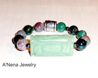 "Unisex Bracelet: Aventurine,Hematite & Fancy Jasper ""Spiritual Warrior"" By ANena Jewelry"