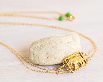 Vintage Elephant Necklace, peridot necklace, elephant jewelry, gold necklace, vintage necklace
