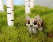 Tiny Clay Raccoon- polymer clay