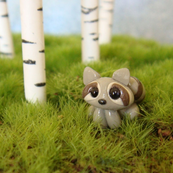 Tiny Clay Raccoon- polymer clay