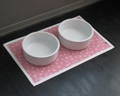 Pink & White Polka Dot Pet Placemat with Solid White Border