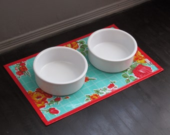 Aqua & Red Rose Floral Print Waterproof Pet Placemat
