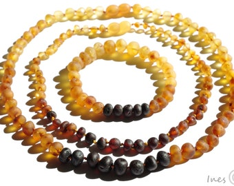 Set Of Raw Unpolished Rainbow Color Baltic Amber Baby Teething Necklace For Baby and Reminding Necklace and Bracelet for Mommy