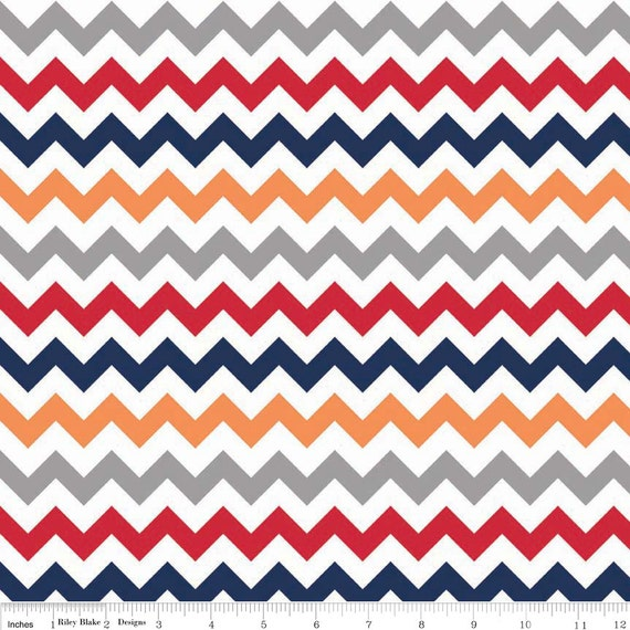 Sale | Chevron Fabric in Gray, Blue, Red, Orange by Riley Blake ...