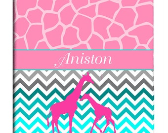 Custom Giraffe and Chevron Shower Curtain
