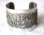 Victorian Silver Floral Band on Silver Cuff - Victorian Jewelry