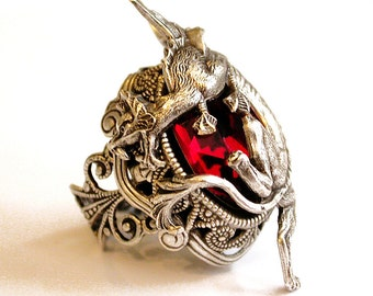 Red Swarovski Ring - Silver Dragon Ring - Statement Ring - Gothic Ring - Women Fantasy Ring - Game of Thrones Ring - Gothic Jewelry