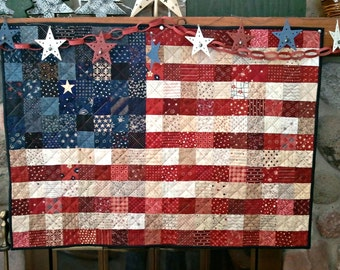 Stars and Stripes PATRIOTIC AMERICAN FLAG Quilt for sale Made To Order Table Runner Wall Hanging .