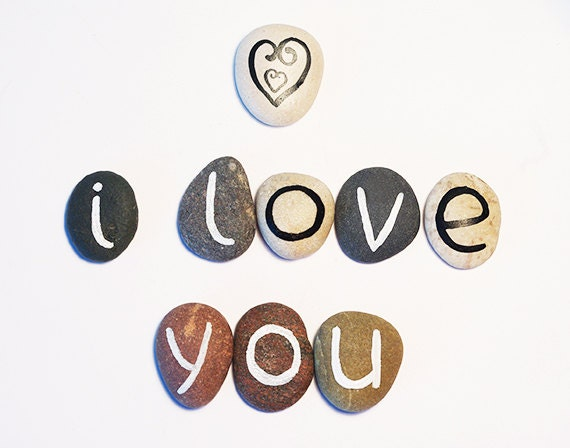 Valentine's day, I Love You, 9 Magnets Letters, Beach Pebbles, Inspirational Word or Quote, Gift Ideas, Sea Stones, Personalized, Rocks