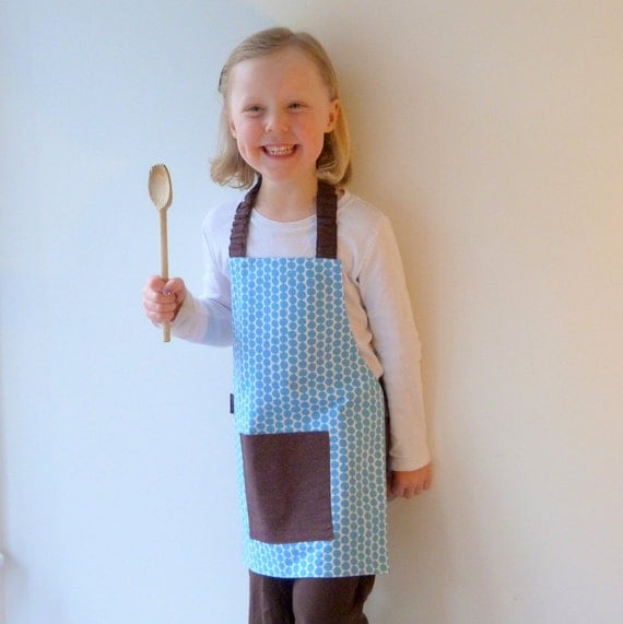Kids Montessori Apron, Blue Polka Dots, Handprinted Cotton, Free US Shipping