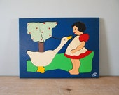 Wood Judy Puzzle of Girl and Goose