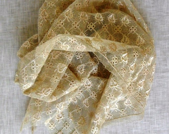 Vintage Golden Color French Embroidered Tulle Lace Fragment  for Dolls, Craft, Pillows etc. c. 1930's