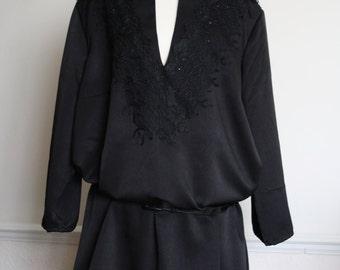 Black plus size tunic with lace and Swarovski crystals, size uk 30,32, FREE UK SHIPPING