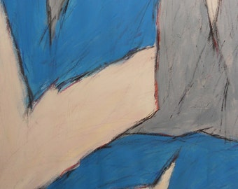 3-12-13a  first part of a set (abstract expressionist painting, blue, black, pastel, white, cream, maroon)