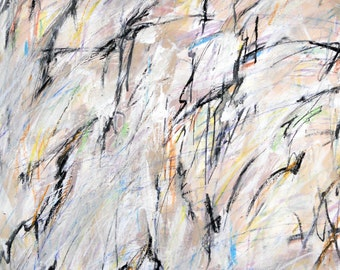 It is what it is, isn't it   5-21-13 (abstract expressionist painting, black, pastel, blue, yellow, white, green, cream)