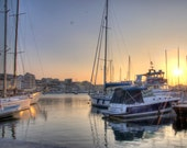 BOAT HARBOR FRANCE Sunset Harbor Photo Print Marseille France