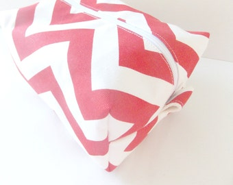 Red Chevron Makeup Bag - Make up Bag  - Cosmetic Pouch -  Lunch Bag - Wet Bag - Waterproof Bag