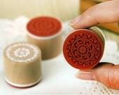 6 Pcs Korea DIY Wood Round Rubber Stamp