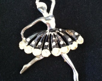 Vintage 1940s Ballerina Brooch, Silver ballet jewelry,