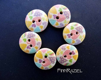 8 wooden buttons with hearts ø 15 mm buttons for kids heart print