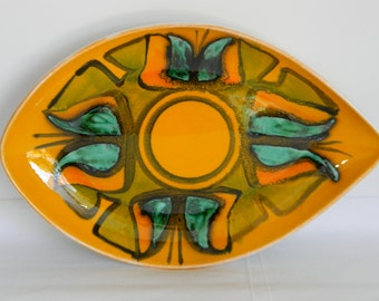 Vintage Poole Pottery Shape 91 Delphis Plate England Abstract Orange Green Black Serving Home Decor