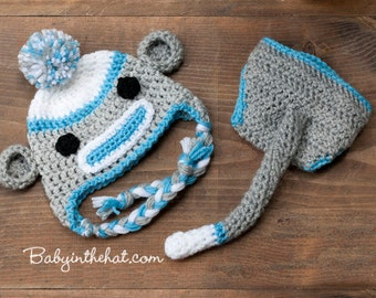 Children's Sock Monkey Blue and Grey Earflap and Diaper Cover with Tail Boys Crochet Hat