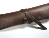 Personalized Genuine Leather Pencil Case - vegetable brown - buffalo black - Thick leather pencil case - by MJK MADE