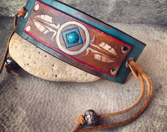 Handmade Leather Native American Stamped Feather Cuff Bracelet Tribal Leather Jewelry / boho tribal cuff