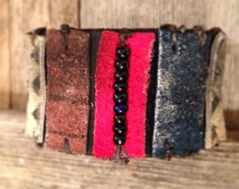Handmade Native American Leather Cuff with Suede and beads, southwest jewelry, Black and Red