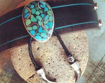 Leather Bracelet, Turquoise Bracelet, Sterling Silver, Handmade