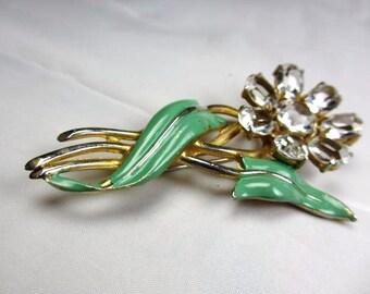 Crystal Flower Pin, Green Enamel Brooch, Retro, Vintage Jewelry, WINTER SALE