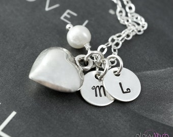Silver heart Initial Necklace, Two letter charms, Mommy jewelry, Sister gift, Two initial necklace, Mother daughter jewelry
