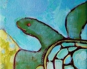 """Original painting """"Tropical Turtle"""", 6"""" x 6"""", small painting"""