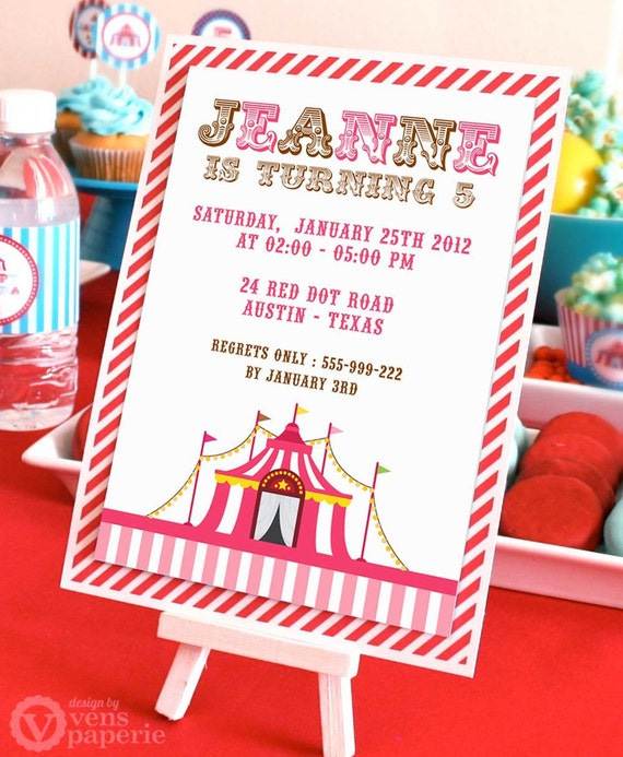 Diy printable invitation card vintage pink carnival circus il570xn stopboris Image collections