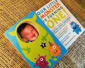 Monster Birthday Party or Baby Shower invitations and envelopes - Custom Colors Available
