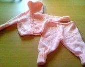 Hand Knitted Baby Pink Hooded Jacket And Trousers