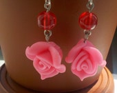 Fashion Dangle Earrings Rose Handmade Hot Pink Red Glass Beads Silver Prom Wedding Bridesmade's Jewelry Ready to Ship