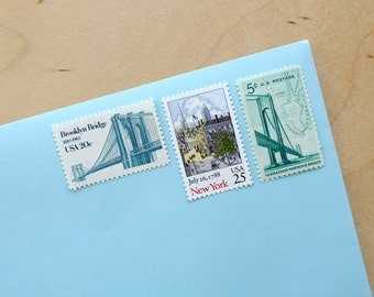 Vintage unused - Bridges of New York - postage stamps to post 5 letters
