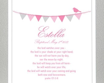 Girl Baptism Gift ( personalized with name and date ) - Bible Verse - Psalm 121: 5-8 - Print