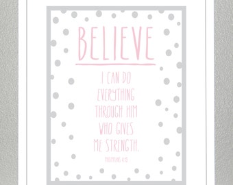 Nursery wall art - Philippians 4:13 - Lord gives me strength - 8x10 print
