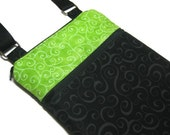 Black lime green cross body purse swirl sling bag adjustable strap shoulder vacation travel wallet hobo hipster shopping small