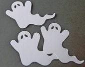 12 Handmade Die Cut Large Ghosts, White, Halloween, Embelishments, Scrabooking, Card Making