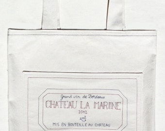 Wine tote bag - Library bag, grocery bag