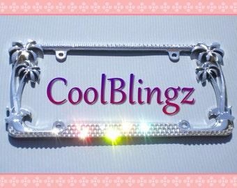3 Row Diamond Bling CRYSTAL Rhinestone PALM TREE License Plate Frame made w/ Swarovski Elements