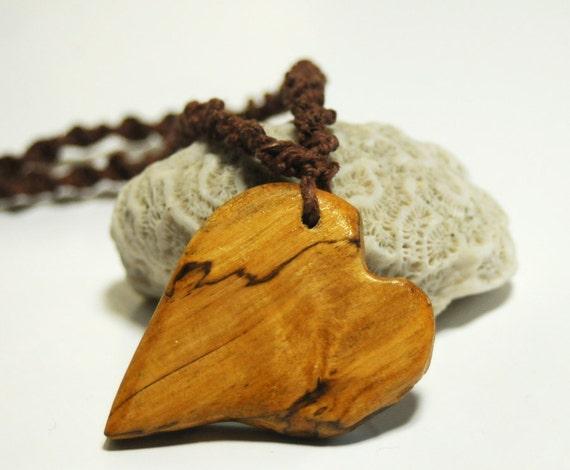 Driftwood Heart Pendant, Hemp Macrame Necklace with Handmade Drift Wood Button , Reclaimed Wood Eco Jewelry