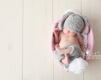 Little Bunny Outfit- DESIGNER HAT - Orginial Designer - Photo Prop - Newborn