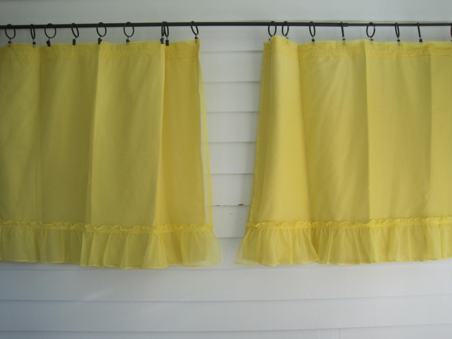 vintage yellow short curtains pair of ruffled kitchen